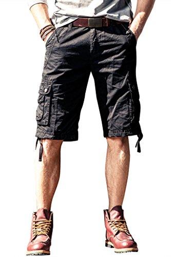 Herren Cargo Shorts leger Kurze Hose Tunnelzug 100% Baumwolle mit Multi-Taschen Locker (Cargo Shorts Herren Fashion)