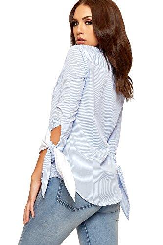 WEARALL Femmes Longue Cravate Manche Bouton Chemise Haut Dames Rayé Floral Rose Imprimer Collier - 36-42 Bleu