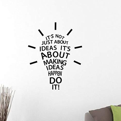 Finloveg Ideen Verwirklichen Tue Es Inspirierend Zitat Wandtattoo Glühbirne Erfolgreich Motivierend Vinyl Aufkleber Art Home Room Office 42X52Cm