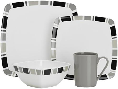 Flamefield Carre Premium-Servizio di piatti piatti piatti in melamina, 16 pz, Coloreeee  bianco grigio | all'ingrosso  | Conveniente  ceaf67