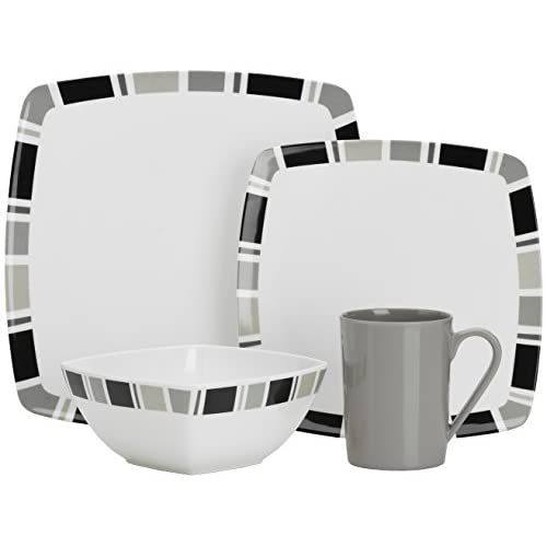 41sUzitkokL. SS500  - Flamefield Carre Premium Melamine Set (Pack of 16) - White/Grey