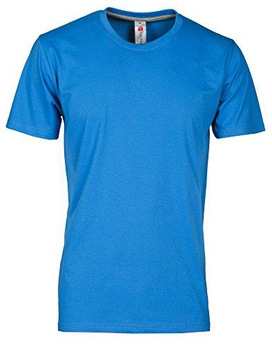 T-Shirt Da Lavoro Maglietta Manica Corta Girocollo 100% Cotone Payper Sunset, Colore: Light Blue Royal, Taglia: L
