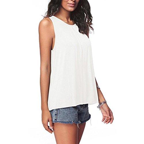 olor Ärmelloses Tanktop Sommermode Sleeveless Tank Tops T-Shirt Bluse (M, Weiß) (Zitate über Halloween Und Familie)