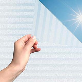 MARAPON®️ Fensterfolie Streifen statisch haftend [45x200 cm] inkl. eBook mit Profitipps - Fensterfolie Blickdicht selbstklebend - Fensterfolie Sichtschutz - Fensterfolie Sonnenschutz