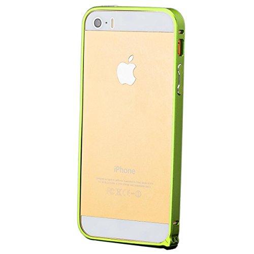 iCues Apple iPhone SE / 5S / 5 |  Alu Bumper Grün | [Display Schutzfolie Inklusive] CNC Aluminium Metall Metallic Rahmen Case Hülle Schutzhülle Alubumper