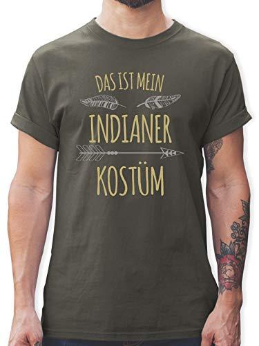 Lange Pfeil Kostüm Ärmel - Karneval & Fasching - Das ist Mein Indianer Kostüm - L - Dunkelgrau - L190 - Herren T-Shirt und Männer Tshirt