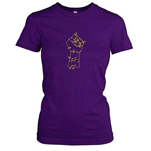 (TEXLAB - Elektronik Faust - Damen T-Shirt, Größe XL, violett)