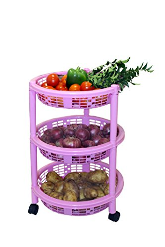 Princeware Maria 3 Rack Big Trolley, Pink