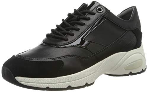 Geox Damen D ALHOUR A Sneaker, Schwarz (Black C9999), 38 EU