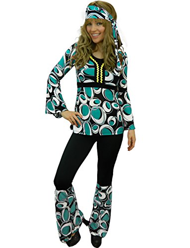 Groovy Hippy Lady Costume. Psychedelic Flared Bottoms, Stretch Tunic To, Headband. Sizes 6 to 18.