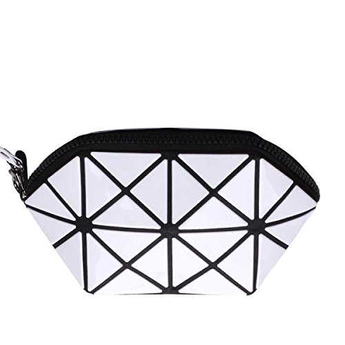 Frauen Unregelmäßige Geometrische Form Handtasche Kosmetiktasche White