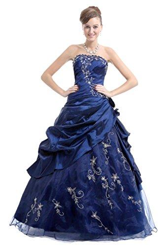 NUOJIA A Linie Quinceanera Kleid Prinzessin mit Stickerei Trägerlos Ballkleider Lang Festkleid Kleider Navy Blau 38 (Kleid Stickerei Quinceanera)
