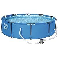 Bestway Steel Pro MAX Frame Pool Set, rund 305x76 cm Stahlrahmenpool-Set mit Filterpumpe, blau