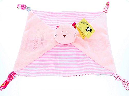 Schnuffeltuch, Schmusetuch, Spucktuch Katze pink mit Ihrem Wunschnamen und Geburtstag graviert Geschenk für Baby 1