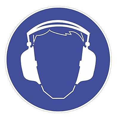 """Gebotsaufkleber """"Gehörschutz benutzen"""", Art. hin_174, DIN 4844-2, Ø 9cm, Hinweis, Achtung, Warnhinweis, Gebotshinweis, Gehörschutz benutzen, Gehör schützen"""