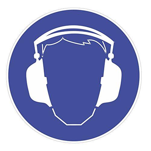 "Preisvergleich Produktbild Gebotsaufkleber ""Gehörschutz benutzen"", Art. hin_174, DIN 4844-2, Ø 9cm, Hinweis, Achtung, Warnhinweis, Gebotshinweis, Gehörschutz benutzen, Gehör schützen"