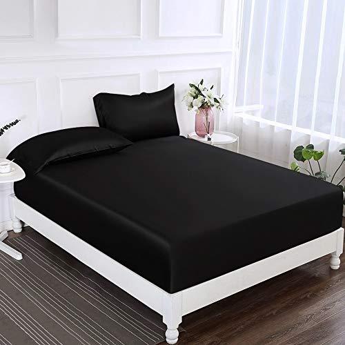 ElleSilk 100% Seide Bettlaken, Seiden-Spannbetttücher, 22 Momme Maulbeerseide, Super Weich und Bequem, Schwarz, 180 x 200 + 35 cm (Schwarz Bettwäsche König Weiße)