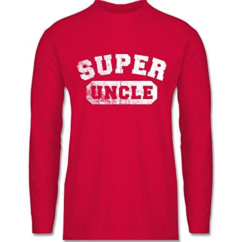 Shirtracer Bruder & Onkel - Super Uncle - Vintage-&Collegestil - Herren Langarmshirt Rot