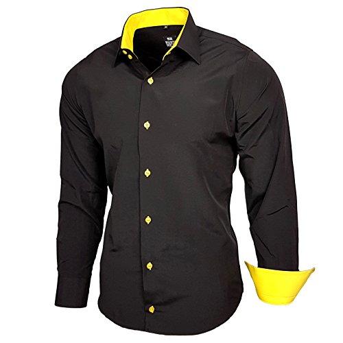 Baxboy Herren-Hemd Slim-Fit Bügelleicht Für Anzug, Business, Hochzeit, Freizeit - Langarm Hemden für Männer Langarmhemd R-44, Farbe:Schwarz/Gelb;Größe:L