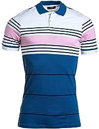 BLZ jeans - Polo piqué blanc et bleu homme à rayures rose