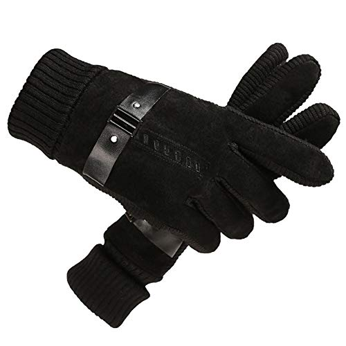 HEJIANGTAO Winter Cycling Motorcycle Winter warm Padded Cycling Student Cold Cotton Gloves, Hand Strap - Black
