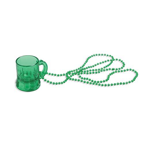 Creative Converting St. Patrick 's Day Kunststoff Perlen Halskette mit befestigt Mini-Tasse Bier, grün