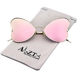 AMZTM Elegant Mode Schmetterling Metall Rahmen Sonnenbrille Damen Polarisiert Verspiegelt Rosa Linse Groß Brille