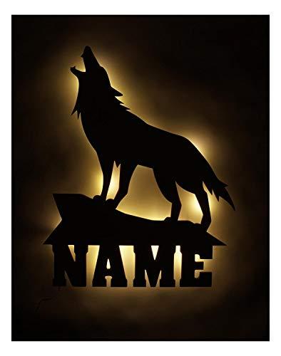 Lampe Geschenk mit Name für Wolfs Fans personalisiert und optional mit Farbe ()