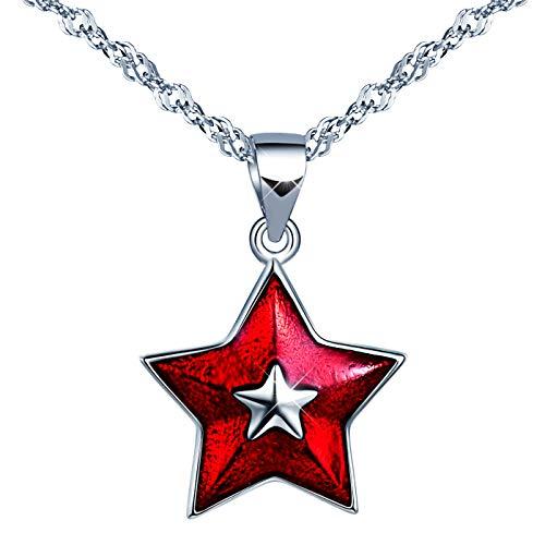 Unendlich U Roter Stern Damen Mädchen Halskette 925 Sterling Silber Anhänger Kette mit Anhänger, Silber