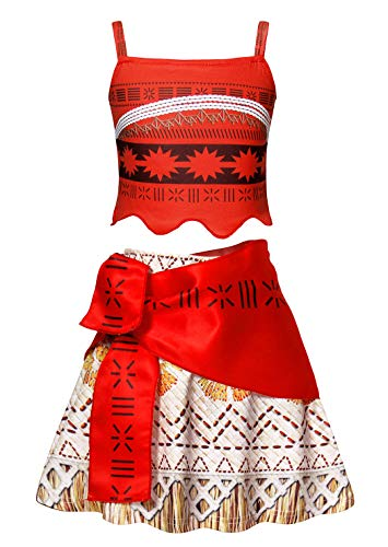 Amzbarley moana costume vestito bambina ragazza carnevale cosplay abito ragazze festa di fantasia compleanno partito halloween cerimonia maniche lunghe/senza maniche abiti vestire