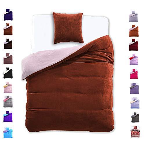 135x200 cm Bettwäsche mit 1 Kissenbezug 80x80 Mikrofaser Weich Warm Winter Kuschelig Bettbezug Bettwäschegarnitur hellbraun beige lightbrown Furry
