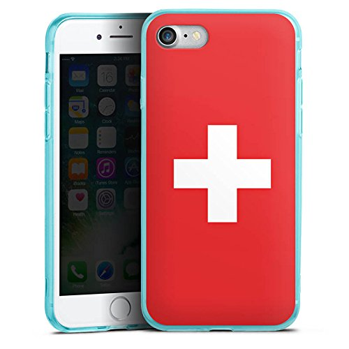 Apple iPhone 7 Silikon Hülle Case Schutzhülle Schweiz Flagge Switzerland Silikon Colour Case eisblau