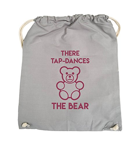 Comedy Bags - THERE TAP DANCES THE BEAR - Turnbeutel - 37x46cm - Farbe: Schwarz / Pink Hellgrau / Fuchsia