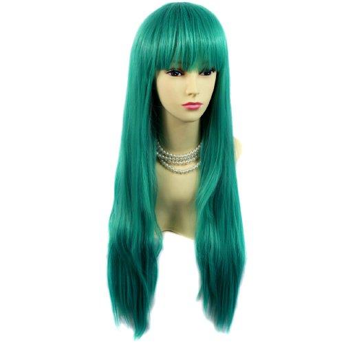 Fabuleuse Perruque Vert Jade Longue et Raide Résistante à la chaleur Costume