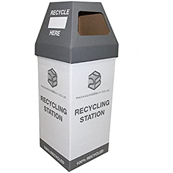 Cardboard Recycling Bins   330x330x945mm With 40 Printed U0026 10 Blank  Stickers. Pack Of 5