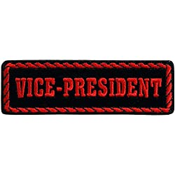 """RED OFFICER VICE PRESIDENT, Iron-On / Saw-On Rayon PATCH - 4"""" x 1"""", Heat Sealed Backing"""