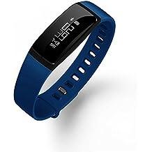 Inteligente aptitud del reloj podómetro medirse la tensión arterial monitor del ritmo cardíaco de la correa de Smart Call Mensaje recordatorio SmartWatch impermeable para Android IOS , blue