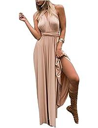 0d5745edb0a2 Landove Vestiti Donna Eleganti da Cerimonia Lunghi Estivi Vestito Lunghe  Senza Schienale Scollo a V Senza Maniche Maxi Abito da Sera…
