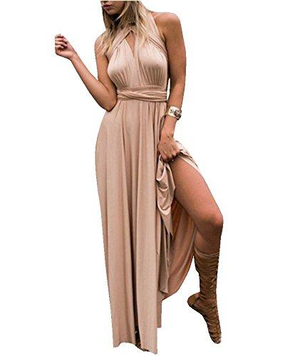 Vestiti donna eleganti da cerimonia lunghi estivi vestito lunghe senza schienale scollo a v senza maniche maxi abito da sera cocktail multi-usura abiti - landove