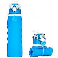Botellas de agua de silicona plegables de 750 ml, grado médico, sin BPA, aprobado por la FDA, se pueden enrollar, a prueba de fugas, plegables, para deportes y al aire libre