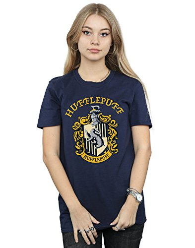 Harry Potter Damen Hufflepuff Crest Boyfriend Fit T-Shirt Navy Blau Medium
