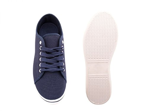 Elara Basic Sneakers | Sportlich Bequeme Turnschuhe | Low Schnürer DkBlue