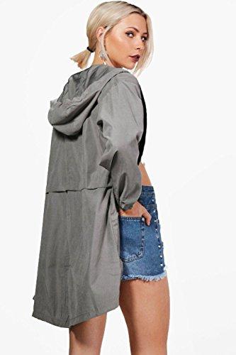 Damen Grau Tilly Übergroße Festival-jacke Mit Tasche Grau