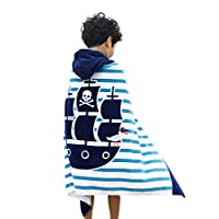 Hooded Bath Towel Poncho Kids Bathrobe Cotton Beach Towel Swimming for Girls Boys Baby Soft Warm Drying Cute Mermaid, 60x60cm