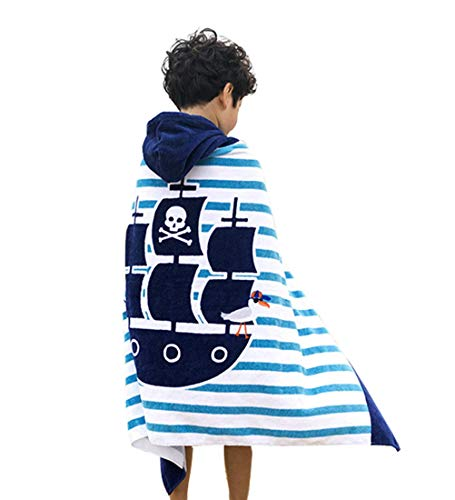 Repuhand Kinder 100% Baumwolle Strand Badetuch mit Kapuze Kinder Poncho Bademantel Kapuzentuch für Jungen Mädchen Baden Schwimmen Beach Holiday