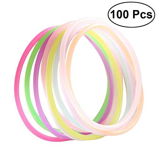 Toyvian 100 stücke Glow Stick Armband Gelee Armbänder für Kinder (Zufällige Farbe)