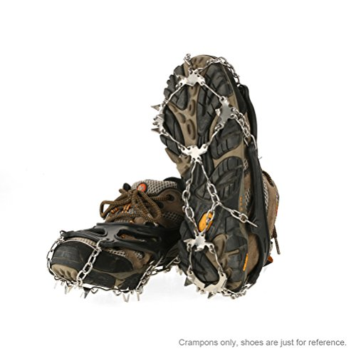 TOMSHOO Crampones 19 Dientes de Acero Inoxidable Unisex Antideslizante Agarra en el Hielo para Montañismo Alpinismo Esquí con 2 Correas de Cubierta y 1 Bolsa de Transporte (Negro, Un par)
