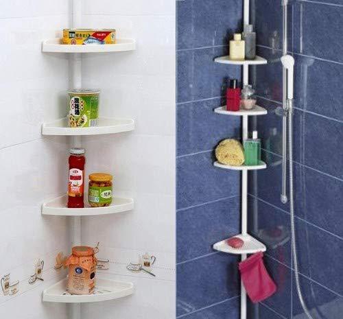Keraiz® - Estantería esquinera para ducha, telescópica, para almacenamiento del baño, con 4 niveles (70-240cm).