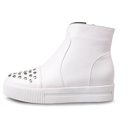 VogueZone009 Damen Reißverschluss Rund Zehe Niedriger Absatz Niedrig-Spitze Stiefel Weiß