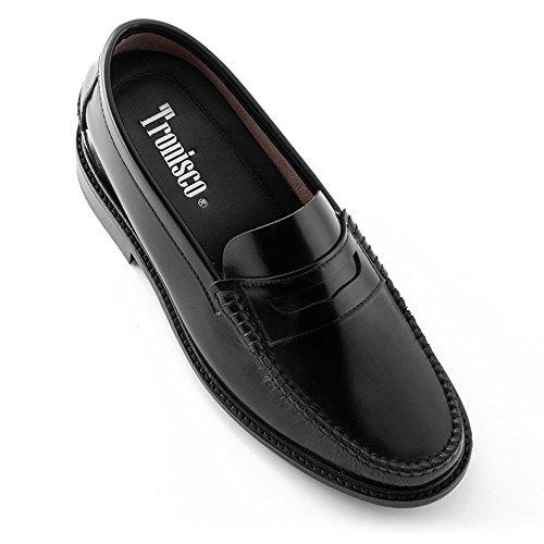 Scarpe con rialzo da uomo che aumentano l'altezza fino a 7 cm. fabbricate in pelle. modello arosa nero 39